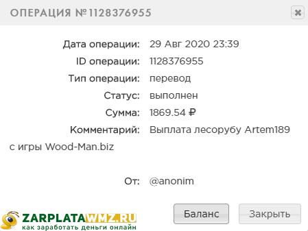 Выплата из игры Wood-Man
