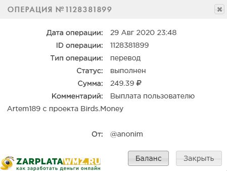 Выплата с игры Birds.money